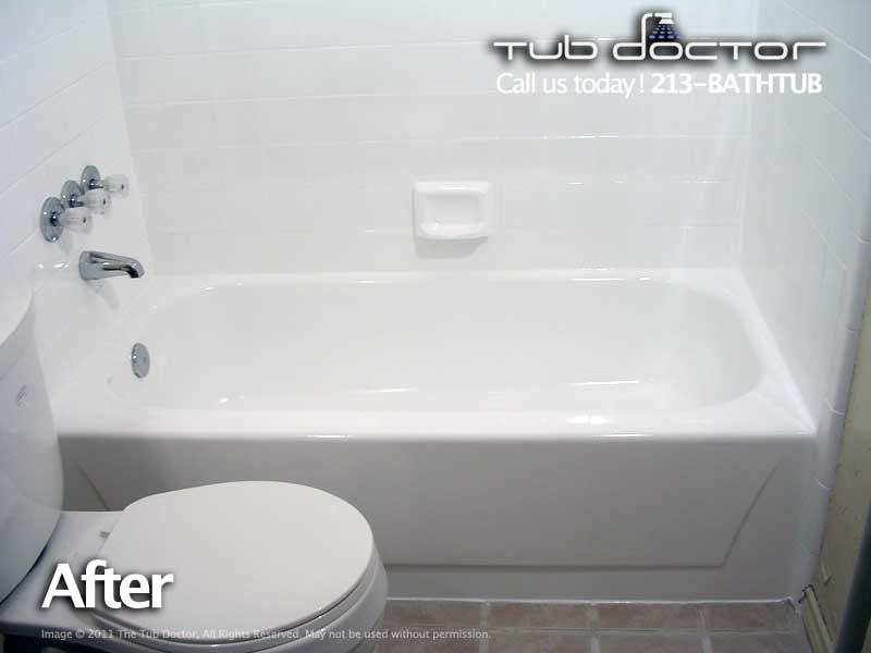 Before after gallery tub reglazing bathtub refinishing for Acrylic vs porcelain tub